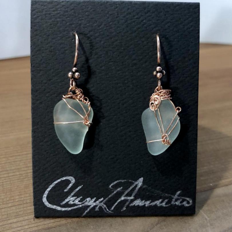 Pale Aqua Earrings in Copper