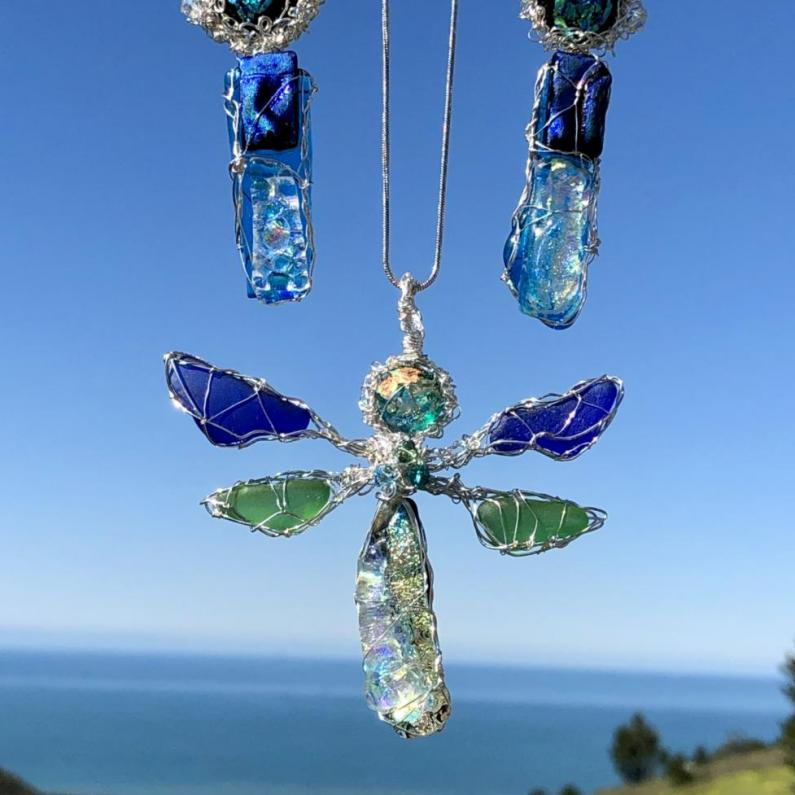 Custom Dichroic & Sea Glass Dragonfly Pendant and Earrings