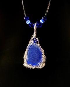 Cobalt Pendant with vintage crystals