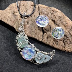 Atlantis Moon Dichroic Pendant & Earrings
