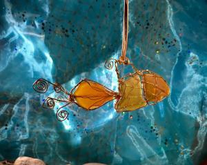 Sea Glass GoldfishOrnament/Light Catcher
