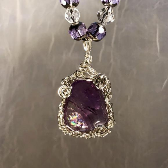 Opalized Amethyst in Sterling Sliver with crystals
