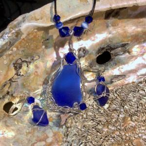 Cobalt Pendant & Earrings in sterling silver with Vintage Crystals